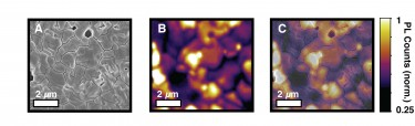 UW researchers used microscopy to identify inefficient regions in perovskite materials used in solar cells, as evidenced by dark areas in C.