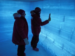 people in front of blue-tinged ice wall