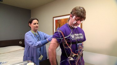 Doctors use a polysomnography test - which requires a patient to sleep overnight in a hospital or clinic while hooked up to dozens of sensors - to diagnose sleep apnea.