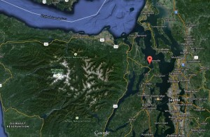 The red arrow is at Hood Head, just north of the Hood Canal Bridge.