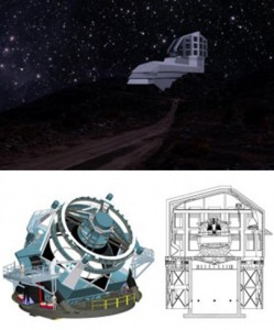Top: A photograph/illustration of the Large Synoptic Survey Telescope's exterior building from the road leading up to the site at night. Below, left, a rendering of the telescope; at right, a drawing of its enlosure design. The telescope is scheduled to begin full operations in 2022.