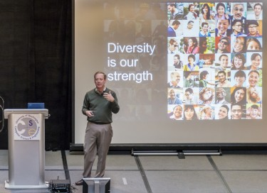 "Microsoft's Brad Smith delivers a talk on ""Creating an Environment for Innovation"" to students and faculty as part of UW CSE's Distinguished Lecture Series in 2012."