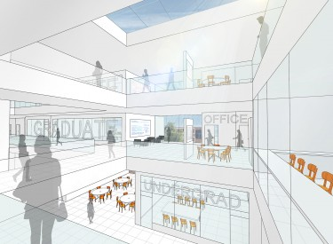 An early conceptual drawing of the new CSE building interior by LMN Architects. The final building design will incorporate an undergraduate commons (pictured) and instructional labs, seminar rooms, research labs, and collaborative spaces for students and faculty