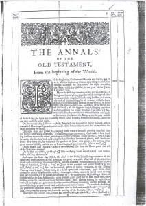 Annals of the World, first published in Latin in 1650.