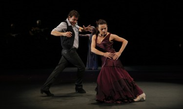 "Dancers Juan Ogalla and Soledad Barrio in ""Antigona,"" presented by the UW World Series. Both Ogalla and the production have been nominated for Bessie awards, the highest honor in the New York dance world."