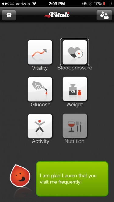 Screenshot of mHealth app with poorly labeled buttons