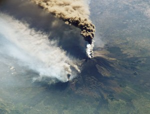 erupting volcano seen from overhead