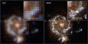 A comparison of the resolving power of the Hubble Space Telescope and the proposed High-Definition Space Telescope.