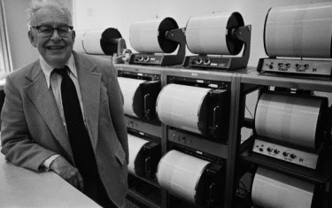 Charles Richter with his seismograph. Richter is the subject of an installment of Joe Janes' Documents that Changed the World podcast series.