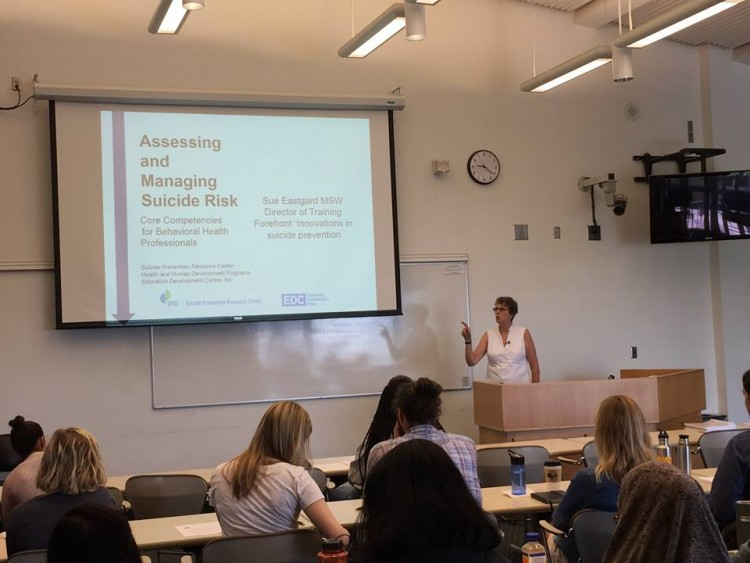 UW Master of Social Work students attend a training by Forefront's Sue Eastgard.