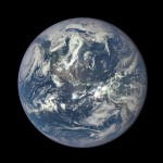 """The Earth as seen by the Polychromatic Imaging Camera aboard NASA's Deep Space Climate Observatory satellite, July 2015. Recent research by UW grad student Edward Schwieterman shows that observations of nitrogen in Earth's atmosphere from afar might help astronomers detect the """"invisible"""" gas in the atmospheres of planets beyond our solar system."""