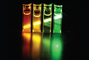 Light emitted from nanocrystals synthesized in the Cossairt lab for display applications.
