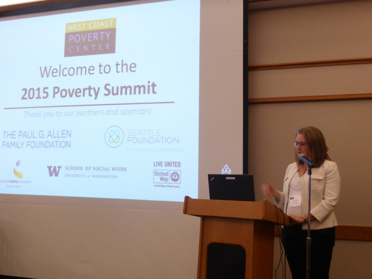 West Coast Poverty Center Director Jennifer Romich addresses the summit.
