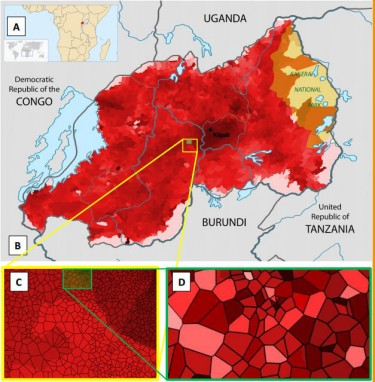"These are high-resolution maps of wealth distribution in Rwanda based on metadata from mobile phone call records. Darker shades indicate relative wealth. A. The location of Rwanda in Africa; B. Map of ""cells"" in Rwanda, the smallest administrative unit. These could be households or microvillages. C. Enlargement of a 10K x 10 K region. D. Enlargement of a 2k x 2k region."