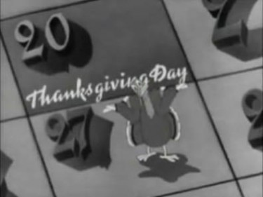 "A screen shot from the 1942 film ""Holiday Inn"" -- even the turkey is confused about which day Thanksgiving is."