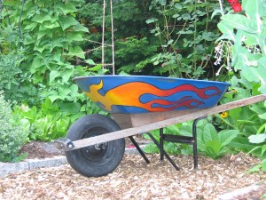 painted wheelbarrow