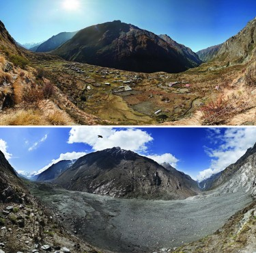 Before-and-after photographs of Nepal's Langtang Valley showing the near-complete destruction of Langtang village due to a massive landslide caused by the 2015 Gorkha earthquake.