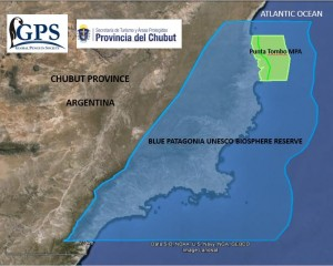 Map showing the UNESCO biosphere reserve (blue) and offshore marine protected area (green).