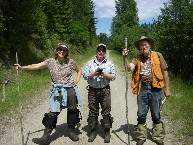 Volunteers Carol Mack, Meg Decker, Bill Fouts in Stevens County in search of the water avens (Geum rivale).