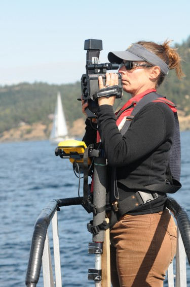 Deborah Giles of the University of California, Davis tracks nearby vessel traffic with a laser positioning system she developed.
