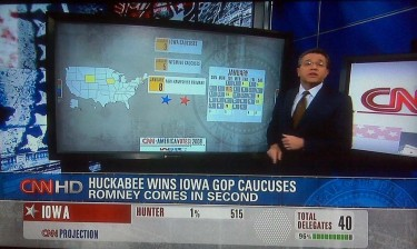 CNN News announces Mike Huckabee the winner of the 2008 Republican Iowa caucus. But winning Iowa does not always lead to the nomination, which that year went to Sen. John McCain.