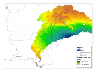 Pakistan water managers used GRACE satellite data to produce this map of monthly groundwater changes in the Indus River Basin. Orange and yellow indicates areas where groundwater might be depleted while blue and green highlights areas where groundwater is being replenished.