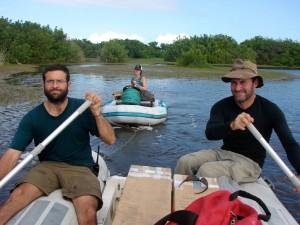 three people on water