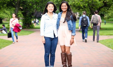 Christina Xiao, left, and Amber Amin graduated in June 2015 with degrees in informatics from the UW Information School. This year's cohort in Informatics is the largest yet, a record 40 percent of them women.