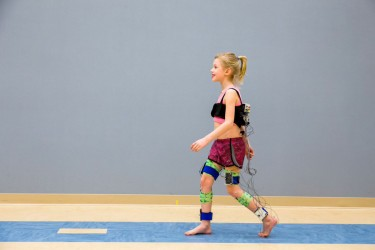 Walk-DMC is a new, quantifiable measure of motor control in children with cerebral palsy. It relies on data from electromyography (EMG) shown in this demonstration, which uses electrodes to monitor muscle activity.