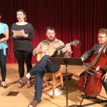 "Performers in UW Collegium Musicum rehearse for their concert April 29 concluding the colloquium ""Shakespeare, Music, and Memory."" From left are Linda Tsatsanis and Emerald Lessley, sopranos; John Lenti on baroque guitar and lute and Nathan Whittaker on baroque cello."