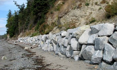 Armored shoreline on Whidbey Island.