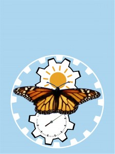 Image of a monarch butterfly with the sun and a clock.