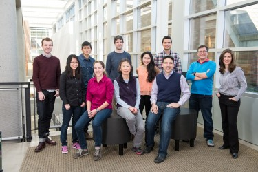 The Molecular Information Systems Lab research team (March 2016): Front (left to right): Bichlien Nguyen, Lee Organick, Hsing-Yeh Parker, Siena Dumas Ang, Chris Takahashi. Back (left to right): James Bornholt, Yuan-Jyue Chen, Georg Seelig, Randolph Lopez, Luis Ceze, Karin Strauss. Not pictured: Doug Carmean, Rob Carlson, Krittika d'Silva. Credit: Tara Brown Photography/University of Washington