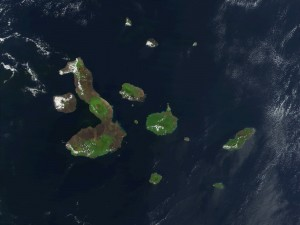 A 2002 image of the Galapagos Islands taken by NASA's Terra satellite.