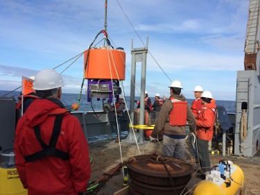 The box surround by purple contains an automated laboratory that will analyze seawater for algal species and toxin. Researchers deployed it May 23 about 13 miles off Washington's coast.