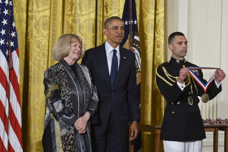 President Obama awarding the medal.