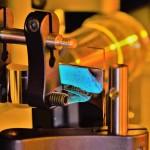 Photo of slide showing granular crystals
