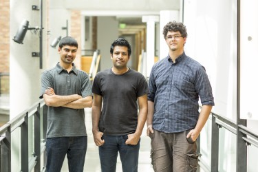 The SpiroCall research team includes (left to right) Shwetak Patel, Washington Research Foundation Endowed Professor of Computer Science & Engineering and Electrical Engineering at the UW; UW computer science and engineering doctoral student Mayank Goel; and UW electrical engineering doctoral student Elliot Saba.