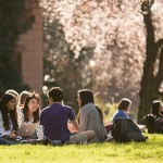 students sitting in the quad at UW