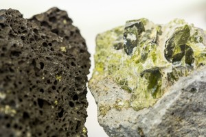 black rock and green rock