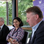 Saadia Pekkanen, Job and Gertrud Tamaki Professor and associate director of the UW's Jackson School of International Studies, chairs a capstone meeting for junior fellows of the school's Space Security Initiative Wednesday, June 8, at the University of Washington Club. From left, others are: Kristian Ulrichsen, affiliate professor of international studies; Alan Boyle, journalist with GeekWire; and John Thornquist, director of the Office of Aerospace for the Washington State Department of Commerce.