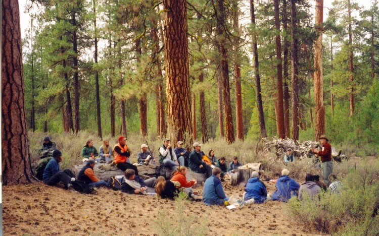 Jerry Franklin, far right, teaches a class in the forest.