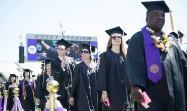 A scene from last year's commencement ceremony at Husky Stadium.