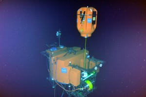 orange instrument in dark sea