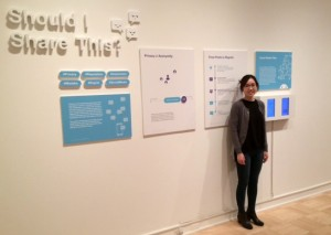 """Should I Share This?"" a hypothetical mobile app by Jaewon Hwang, is a social media filter that would help users better control their postings. This is part of the UW's MFA-MDesign show at the Henry Art Gallery."