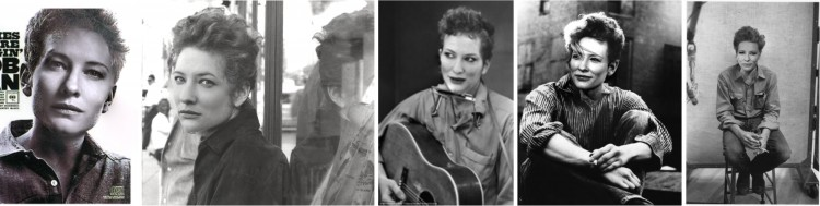 Actors often change their appearances to fit a new role. The new system could help visualize how they would look, as these predictions show for Cate Blanchett playing Bob Dylan.