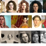 "These examples show a single input photo (left) and Dreambit's automatically synthesized appearances of the input photo with ""curly hair"" (top row), in ""India"" (2nd row), and at ""1930"" (3rd row)."