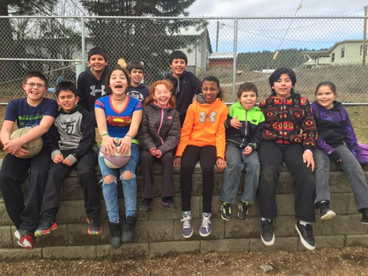 A fifth grade class at Wellpinit Elementary School, on the Spokane Indian Reservation.