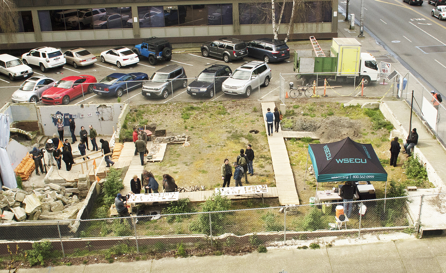 A view from above the site during the open house