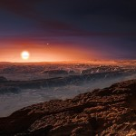 Artist's impression of the planet orbiting the red dwarf star Proxima Centauri.